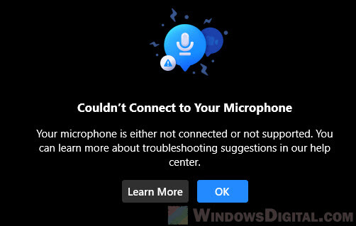 Facebook Messenger couldn't connect to your Microphone PC