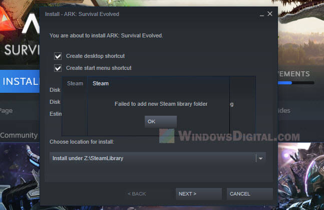 Failed to Add New Steam Library Folder