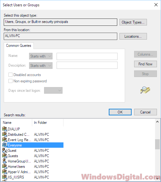 Find Everyone user account in Windows 10