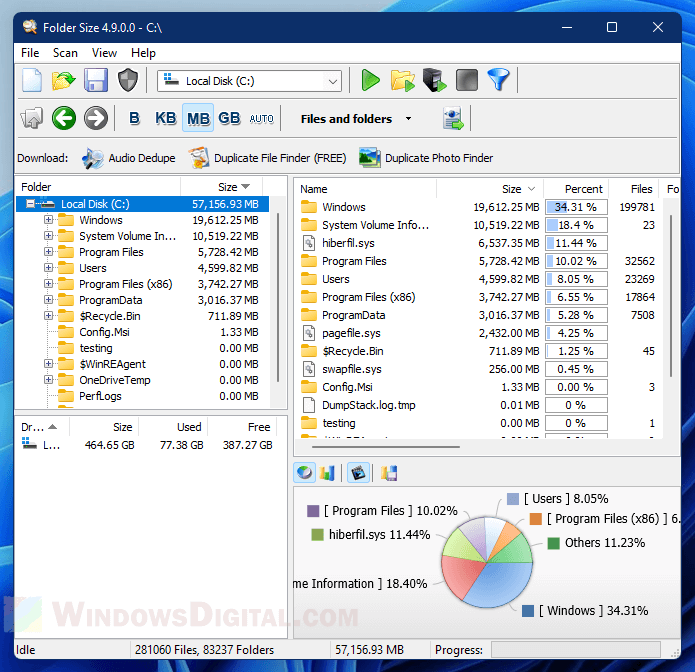 Find huge folders in Windows 11