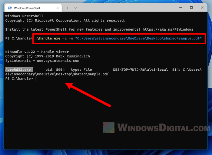 Find which process is using a file in Windows 11