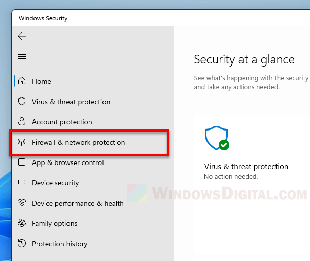 Firewall and network protection Windows 11