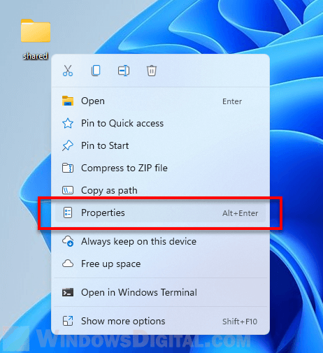 Folder Properties Windows 11