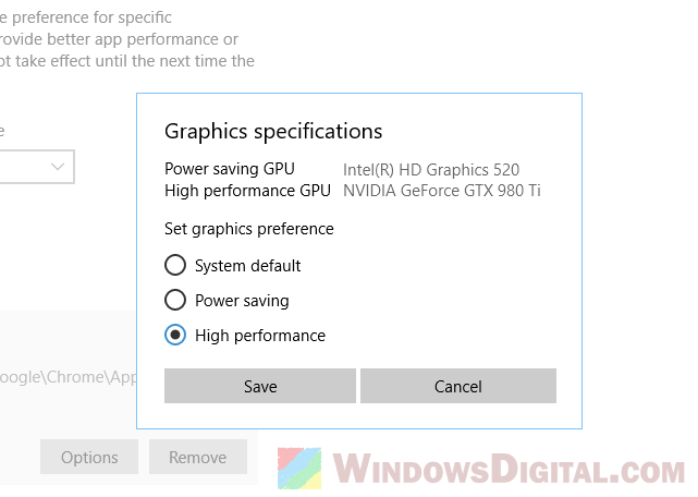 Force laptop to use Nvidia GPU or integrated graphics intel HD