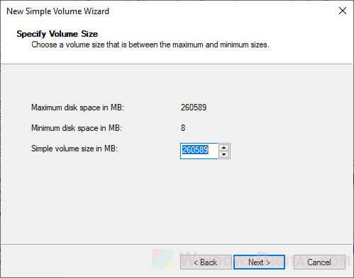 Format SSD partition volume size
