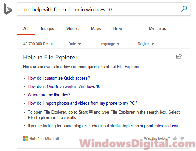 Get help with File Explorer in Windows 10 Bing Search Virus