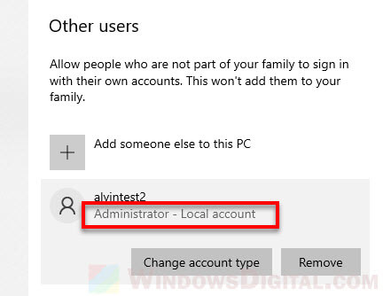 Give admin rights Windows 10