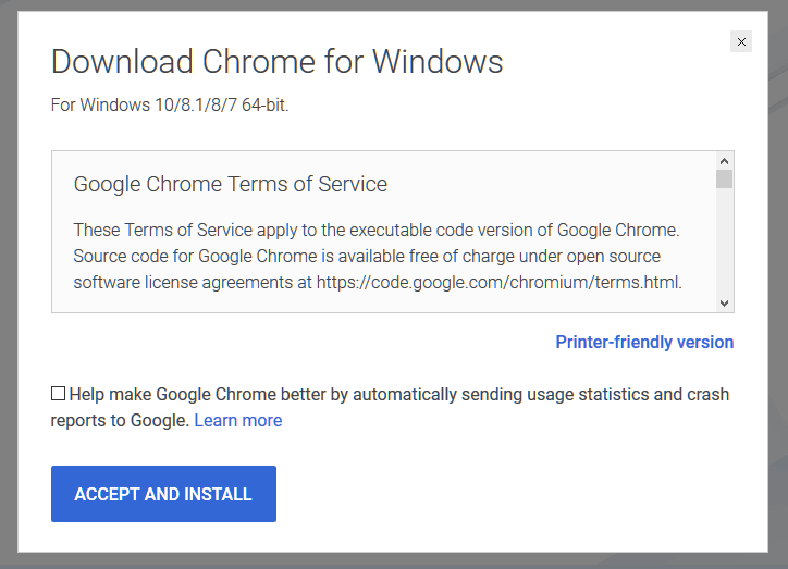 Google Chrome Download Offline Installer for Windows 10