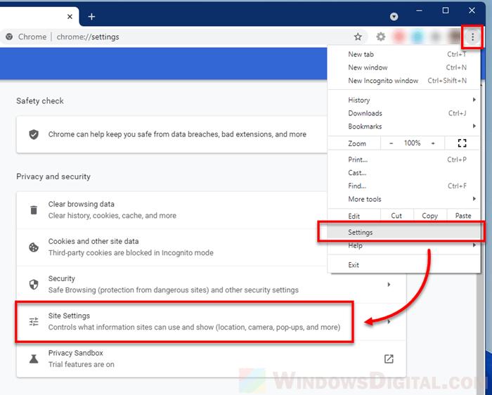 Google Chrome Site Settings