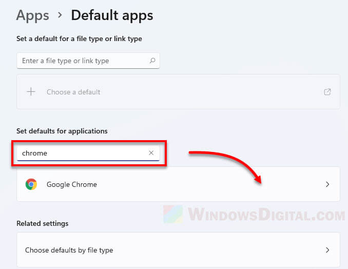 Google Chrome as default app file and link types Windows 11