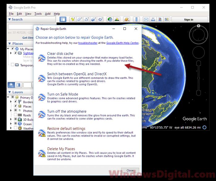 Google Earth Pro Not Responding Windows 10
