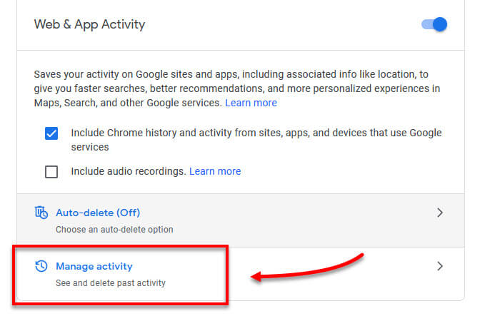 Google Manage account activity