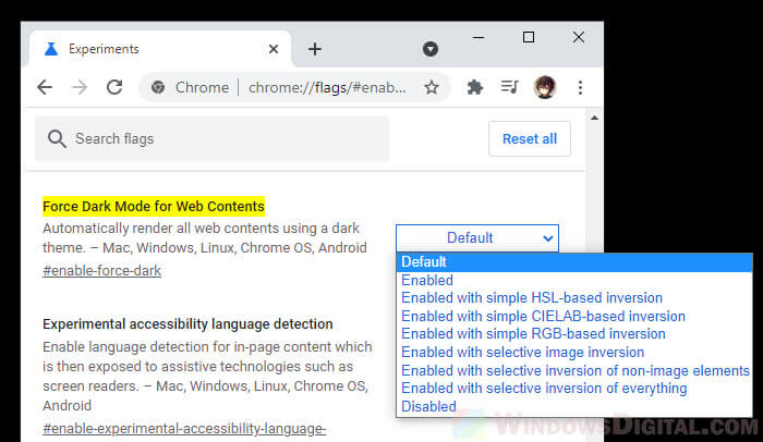 Google Search Dark Mode Chrome