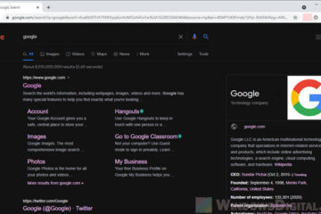 Google Search Result Dark Mode Windows 10 PC