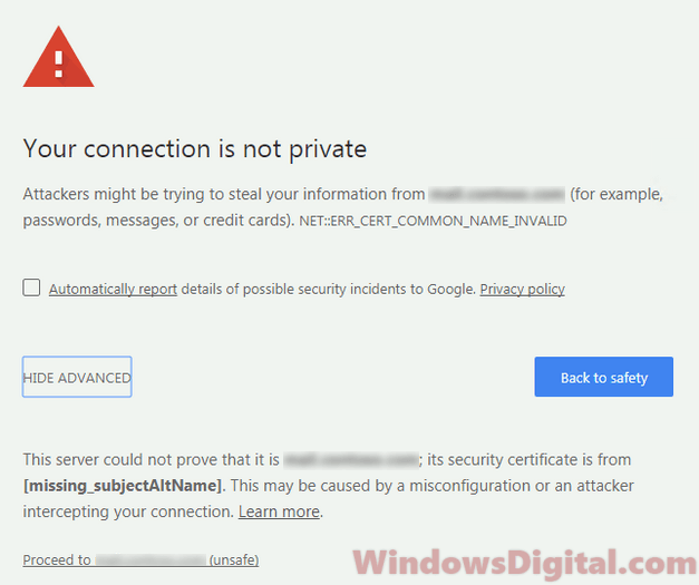 Google Security Certificate error Windows 10 Chrome