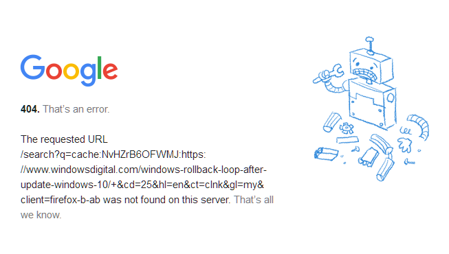 Google Web Cache Shows Error 404 Not Found