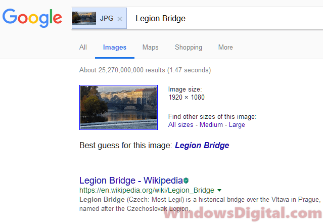 Google reverse image search lock screen image location Windows 10