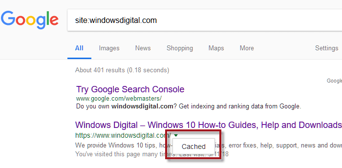 Google web cache returns 404