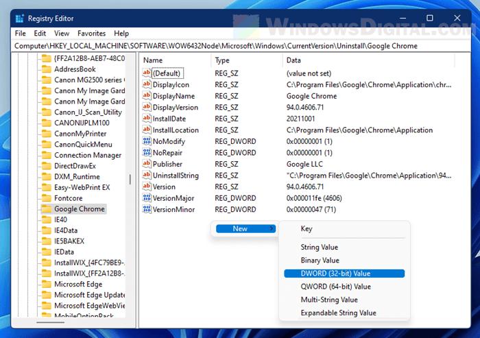 Hide apps from Control Panel in Windows 11 regedit