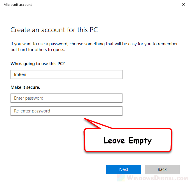 How to Create Local Account Without Password Windows 10