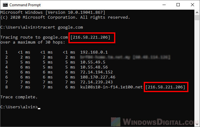 How to Find The IP Address of a Website in Windows 10