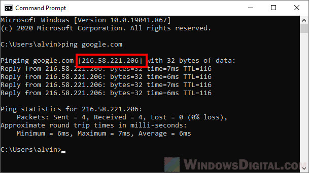 How to Find The IP Address of a Website using CMD