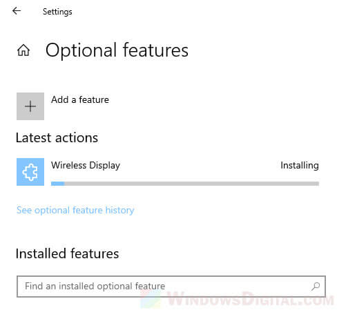 How to Install Wireless Display Optional Feature in Windows 10