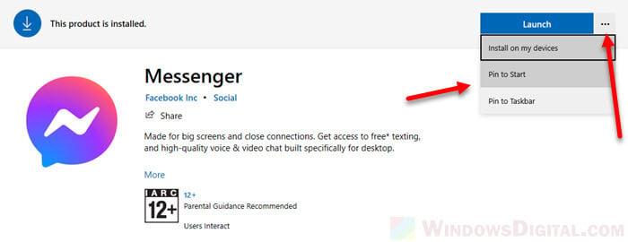 How to Messenger Pin to start or taskbar desktop shortcut