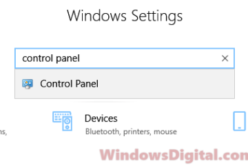 How to Open Control Panel in Windows 10 via settings