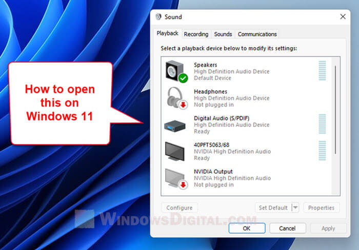 How to Open The Old Sound Settings in Windows 11