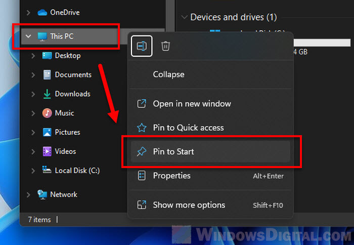 How to Pin This PC to Start Windows 11