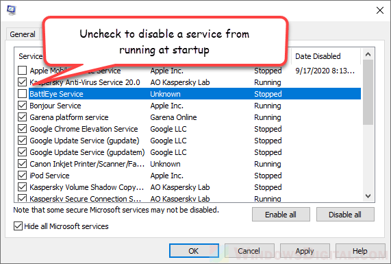 How to Stop Services From Running at Startup on Windows 10