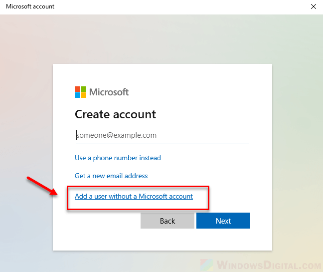 How to add local user account without a Microsoft account