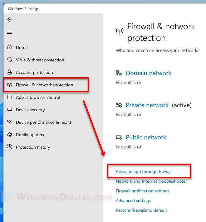 How to allow an app through firewall Windows 11