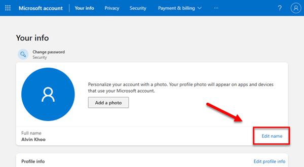 How to change Microsoft account username Windows 11