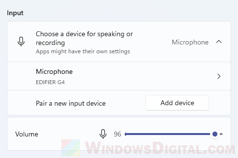 How to change audio input device microphones Windows 11
