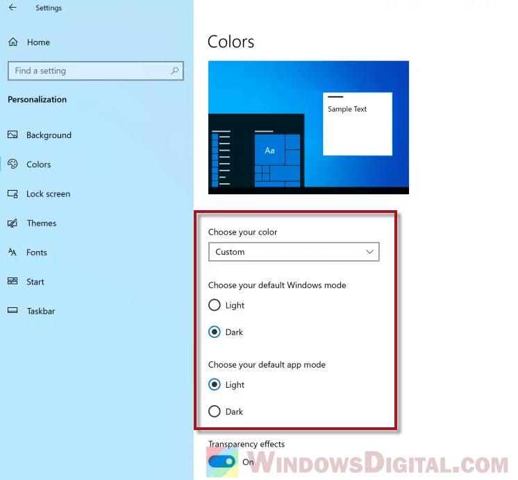 How to change back to Windows 10 Light Theme