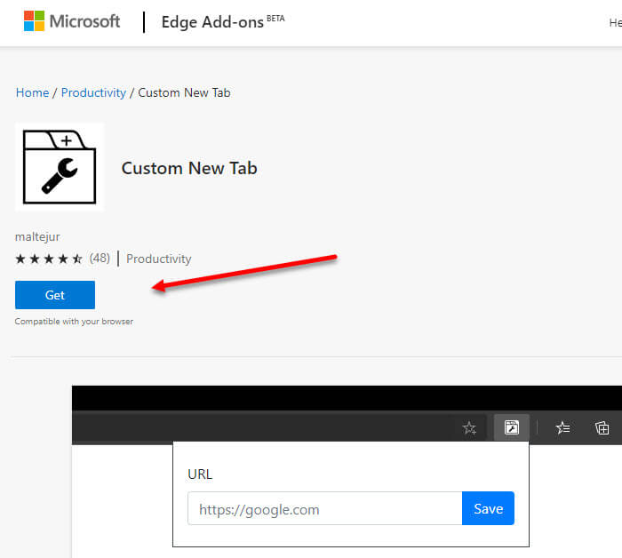 How to change new tab page website URL in Edge