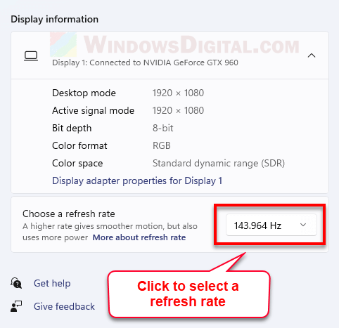 How to change refresh rate desktop screen Windows 11
