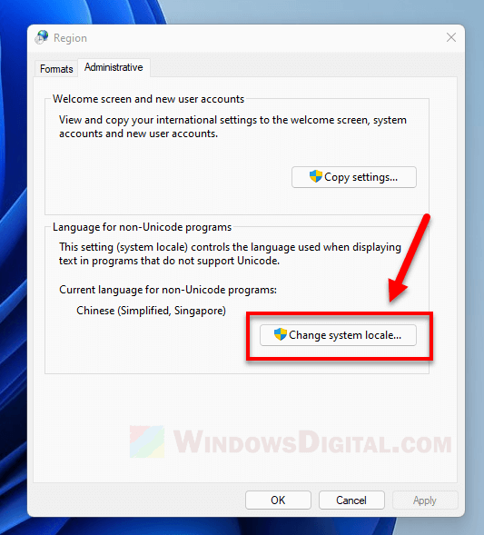 How to change system locale language in Windows 11