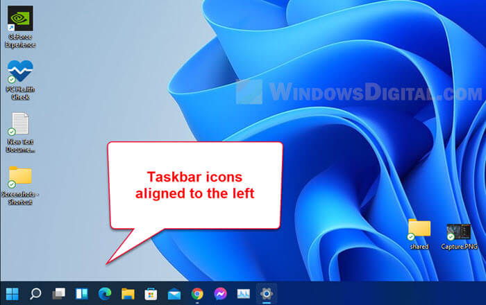 How to change taskbar icons to left side Windows 11
