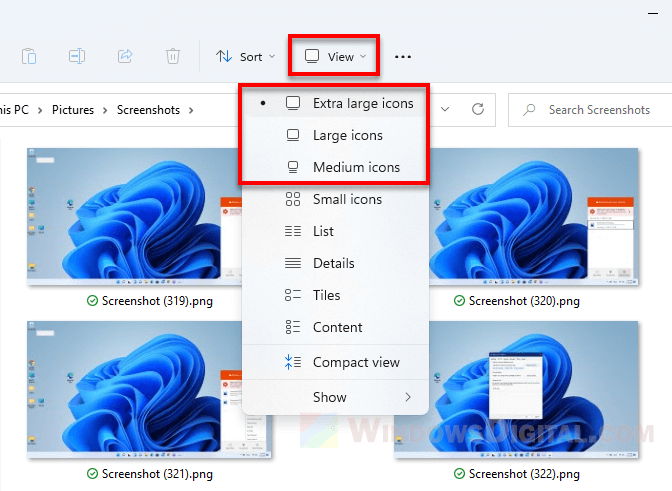How to change view mode for larger thumbnail size in Windows 11 File Explorer