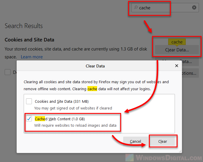 How to clear cache Windows 10 Firefox