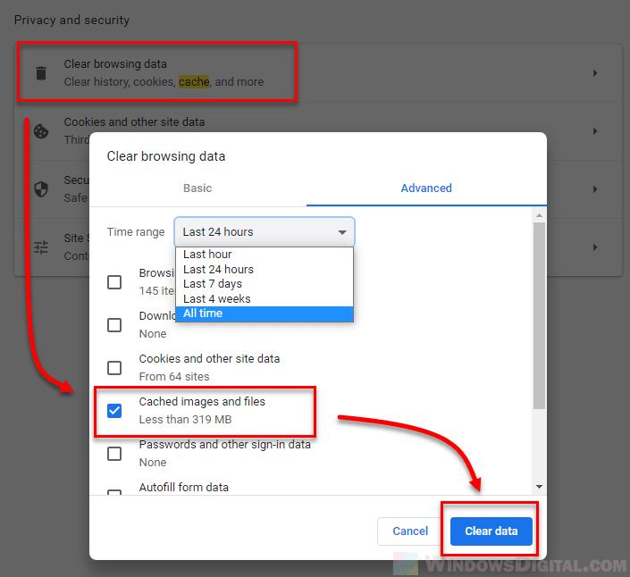 How to clear cache Windows 10 chrome