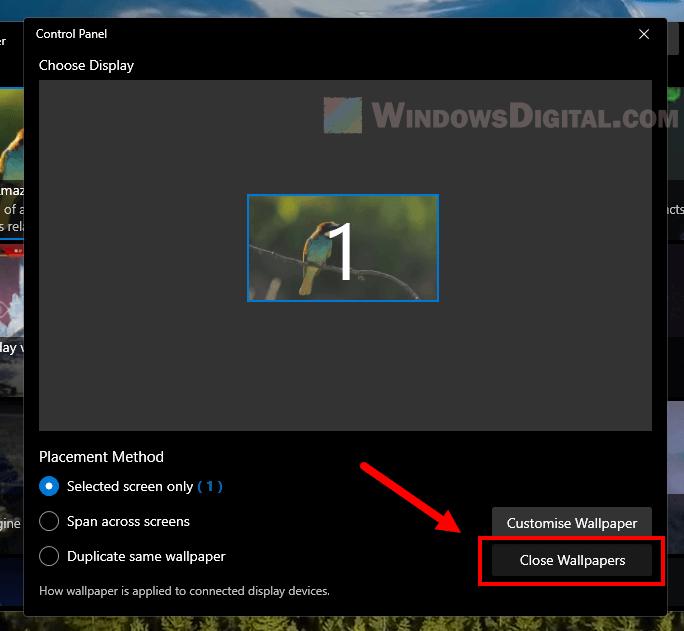 How to close live wallpaper Windows 11
