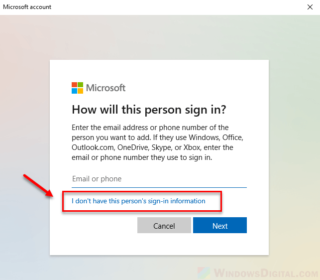 How to create local account without email or phone Windows 10