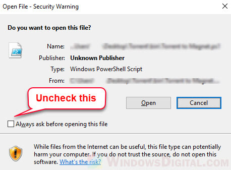 How to disable Do you want to open this file Unknown Publisher warning permanently