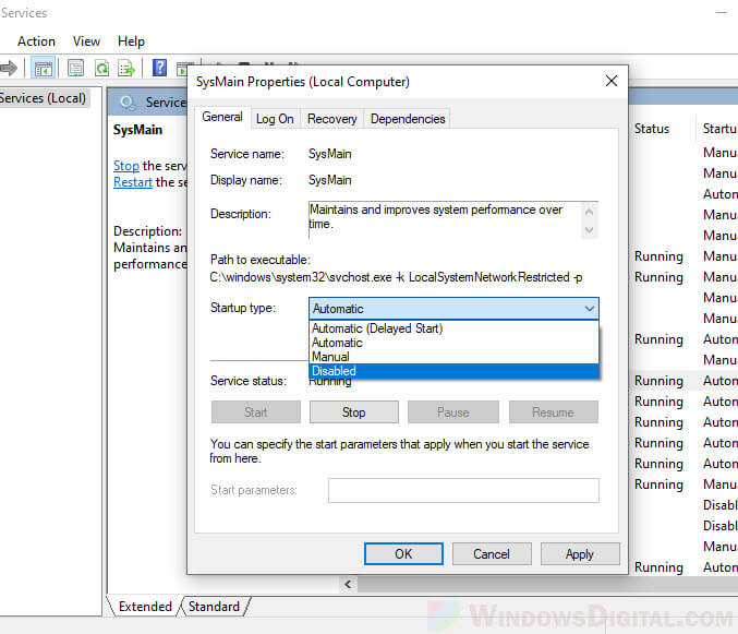 How to disable Superfetch service in Windows 10