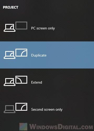 How to duplicate screen on Windows 10 shortcut keys