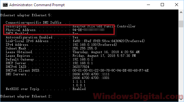 How to find MAC address on Windows 10 with CMD